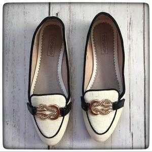 TOPSHOP Faux croc print white loafers Sz 7.5